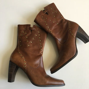 Matisse Brown Leather Mid-Calf Boots w/ Detailing